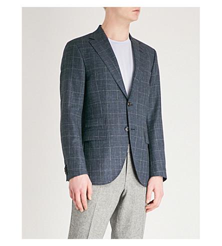 TIGER OF SWEDEN Checked wool-blend jacket (Blue
