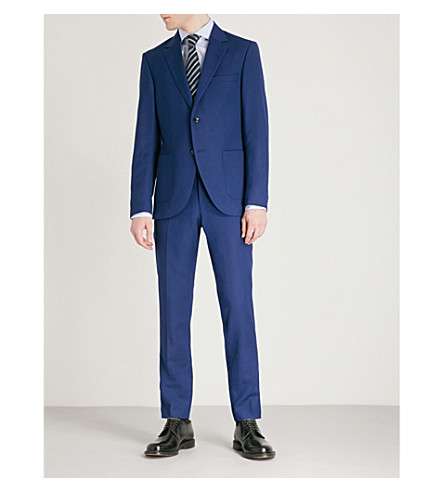 TIGER OF SWEDEN Lamonte regular-fit wool, linen and silk-blend suit (Country+blue