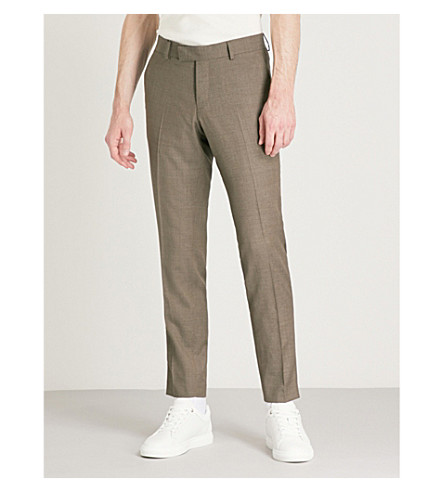 TIGER OF SWEDEN Gordon slim-fit tapered wool trousers (Beige