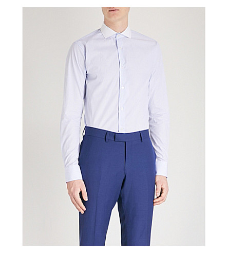 TIGER OF SWEDEN Farrell striped slim-fit cotton-poplin shirt (Blue