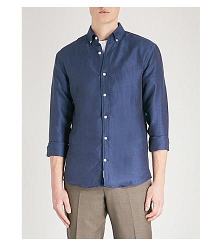 TIGER OF SWEDEN Donald slim-fit linen and cotton-blend shirt (Blue