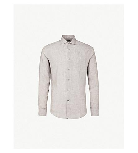 TIGER OF SWEDEN 修身版型亚麻衬衫 (绿色