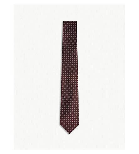 TIGER OF SWEDEN Rami tile-pattern silk tie (Red