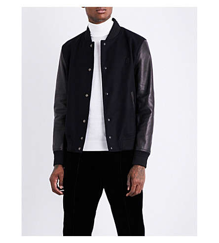 BALLY Logo-embroidered wool and leather jacket (Black