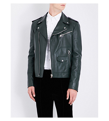 BALLY Patch pocket leather biker jacket (Ivy