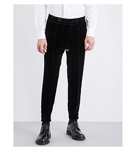 BALLY Tapered velvet jogging bottoms (Black