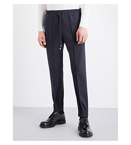 BALLY Tapered wool-canvas jogging bottoms (Ink+15