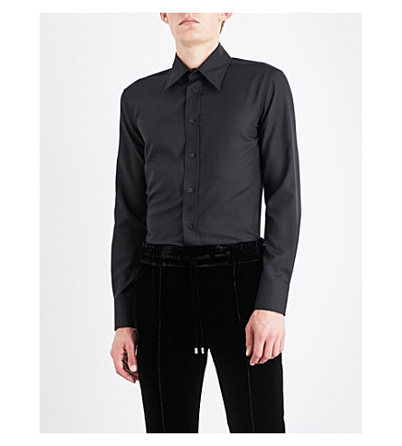 BALLY Classic wool-crepe shirt (Black