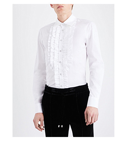 BALLY Ruffled regular-fit cotton shirt (Warm+white