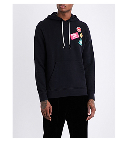BALLY Patch-detailed cotton-fleece hoody (Black