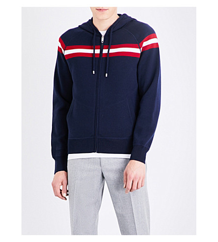 BALLY Triple-striped wool hoody (Ink+15