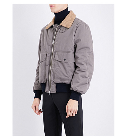 JOSEPH Faux-shearling collar brushed-cotton bomber jacket (Green