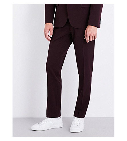 JOSEPH Straight regular-fit mid-rise gabardine trousers (Burgundy