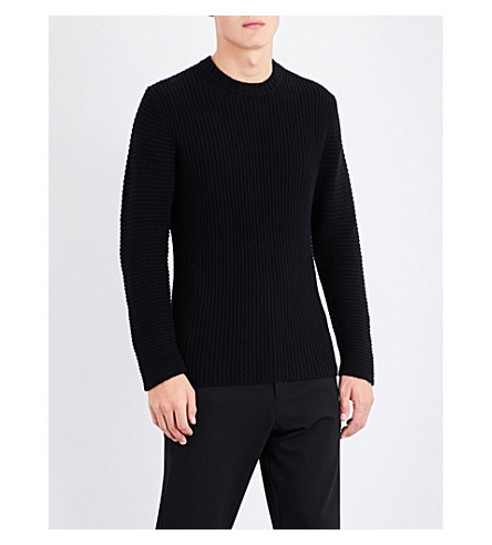 JOSEPH Ribbed cashmere jumper (Black