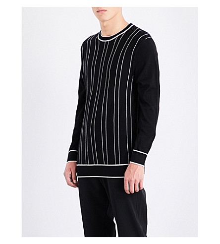 JOSEPH Striped merino wool jumper (Black/ecru