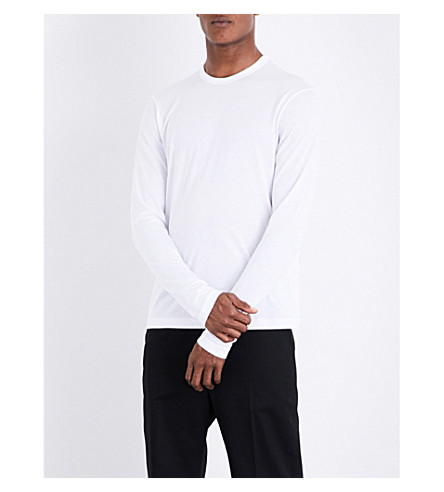 JOSEPH Crewneck cotton-blend top (White