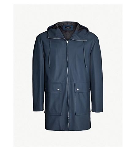 JOSEPH Drawstring-hood leather coat (Navy