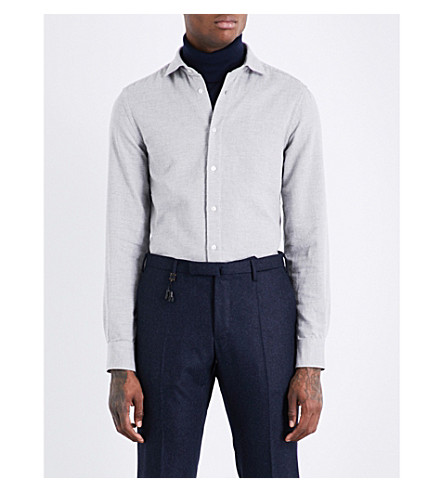 BOGLIOLI Mesh-patterned regular-fit cotton shirt (Grey