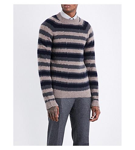 BOGLIOLI Striped wool and cashmere-blend jumper (Cream