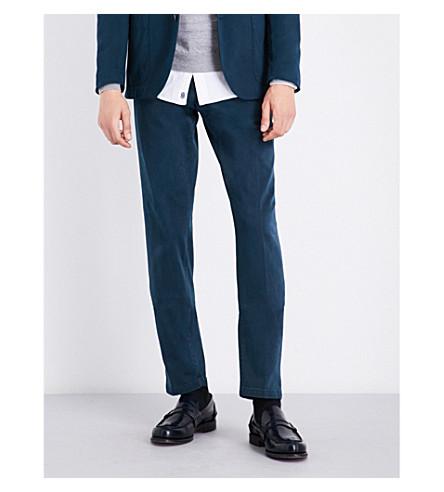 BOGLIOLI Slim-fit straight stretch-cotton trousers (Navy