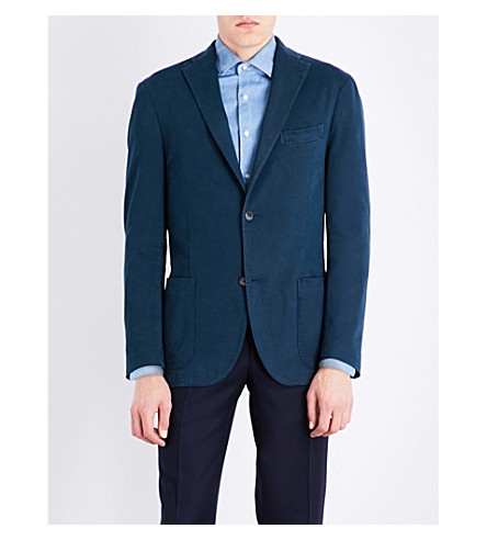 BOGLIOLI Tailored-fit stretch-cotton jacket (Navy