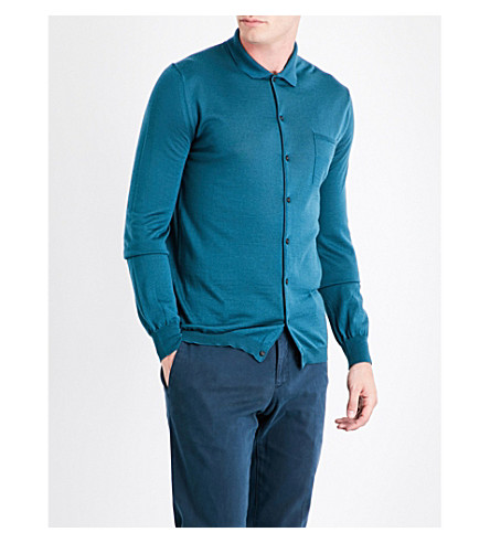 BOGLIOLI Buttoned wool shirt (Teal