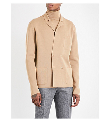 BOGLIOLI Double-breasted knitted wool jacket (Camel