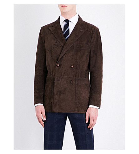 BOGLIOLI Double-breasted suede jacket (Brown