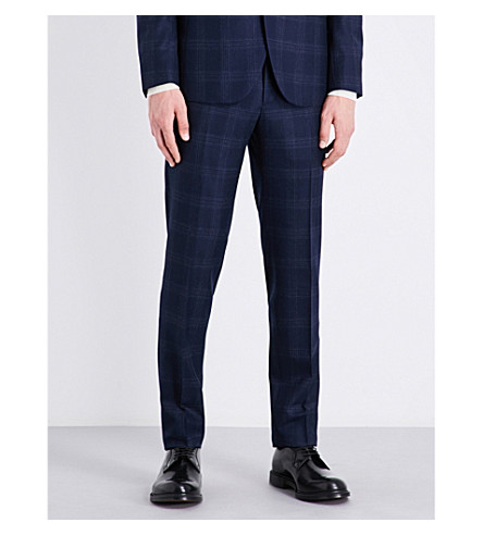 BOGLIOLI Checked slim-fit tapered mid-rise wool trousers (Blue
