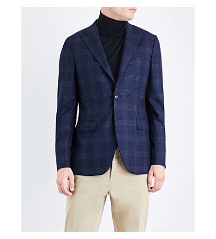 BOGLIOLI Checked regular-fit wool jacket (Blue