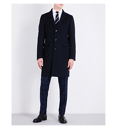 BOGLIOLI Regular-fit wool and cashmere-blend coat (Navy