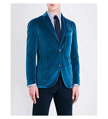 BOGLIOLI Single-breasted velvet jacket (Teal