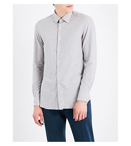 BOGLIOLI Houndstooth cotton shirt (Light+grey