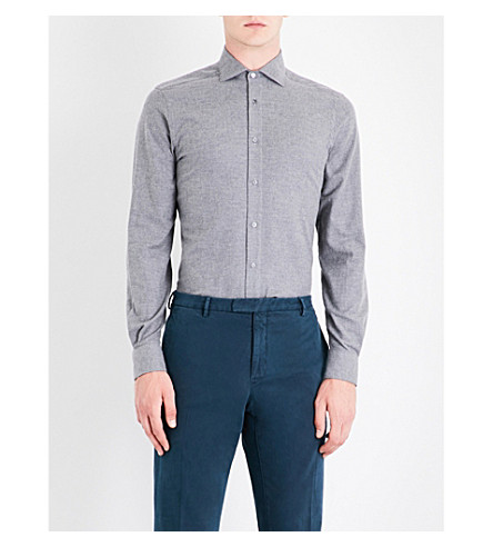 BOGLIOLI Regular-fit brushed-cotton shirt (Grey
