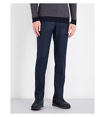 SLOWEAR Regular-fit tapered wool trousers (Blue