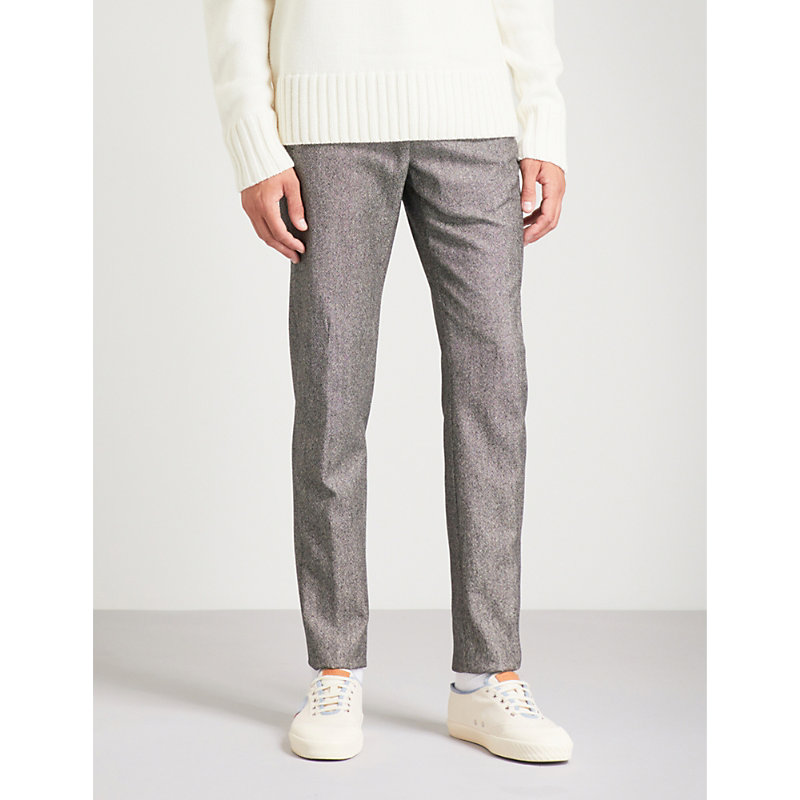 SLOWEAR PINHEAD SLIM-FIT TAPERED WOOL AND COTTON-BLEND PANTS