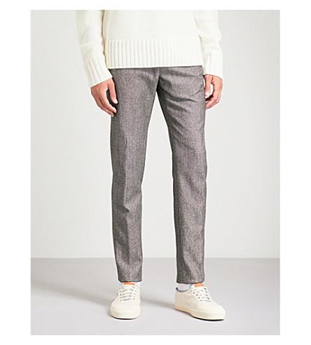 SLOWEAR 针头修身版型锥形羊毛和棉混纺裤子 (灰色