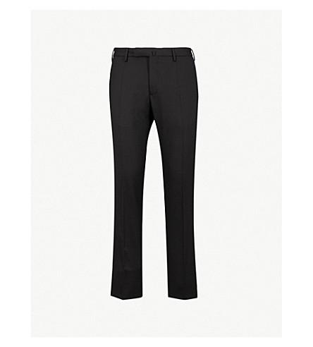 SLOWEAR 修身版型锥形羊毛混纺裤子 (黑色