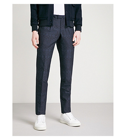 SLOWEAR Floral jacquard slim-fit tapered cotton trousers (Navy