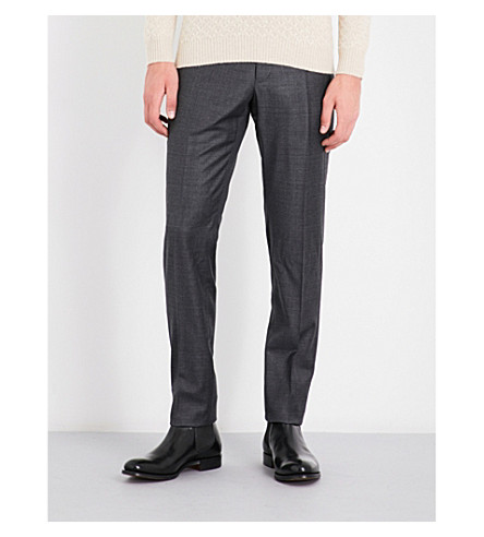 SLOWEAR Sharkskin-patterned regular-fit tapered wool trousers (Charcoal