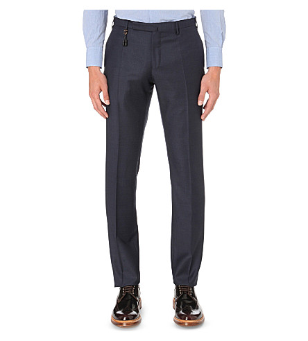 SLOWEAR Slim-fit Super 100 wool trousers (Blue