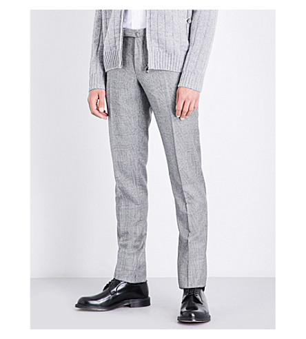 SLOWEAR Prince of Wales checked slim-fit tapered wool trousers (Light+grey