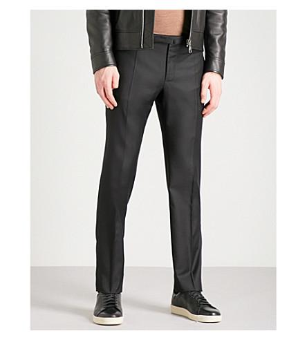 SLOWEAR Slim-fit wool-flannel trousers (Black