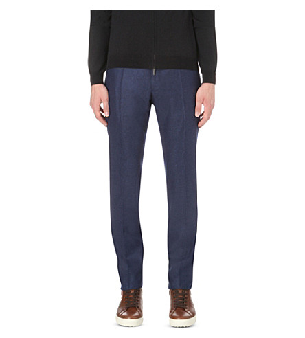 SLOWEAR Slim-fit wool pants (Blue