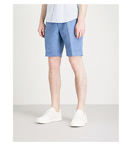 SLOWEAR Slim-fit linen and cotton-blend chino shorts (Blue
