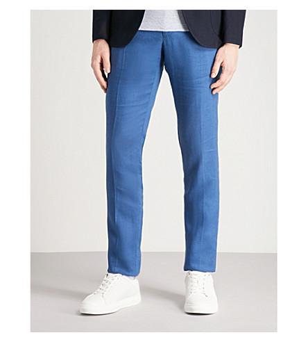 SLOWEAR Slim-fit linen trousers (Blue