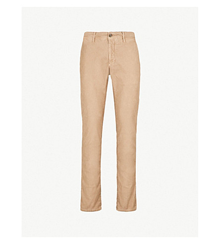 SLOWEAR Garment-dyed slim-fit stretch-cotton trousers (Light brown