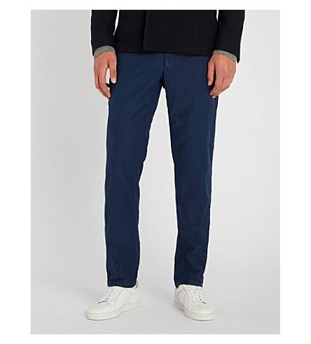 SLOWEAR 服装染色修身版型弹力棉裤子 (中蓝