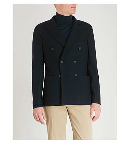 SLOWEAR Montedoro knitted-wool double-breasted jacket (Navy