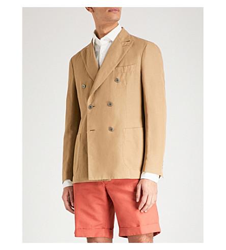 SLOWEAR Chinolino double-breasted linen and cotton-blend jacket (Khaki